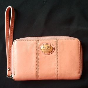 Small Coach Wallet Pink salmon colored